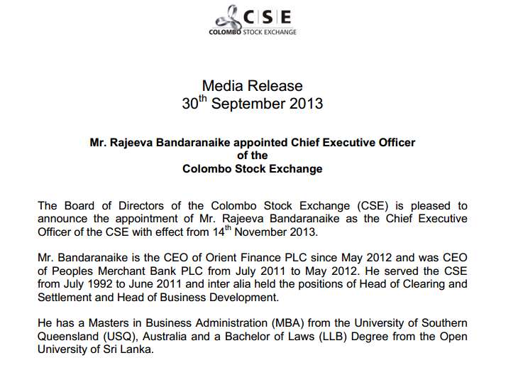 CSE appoints Rajeeva Bandaranaike as its new CEO Cse41