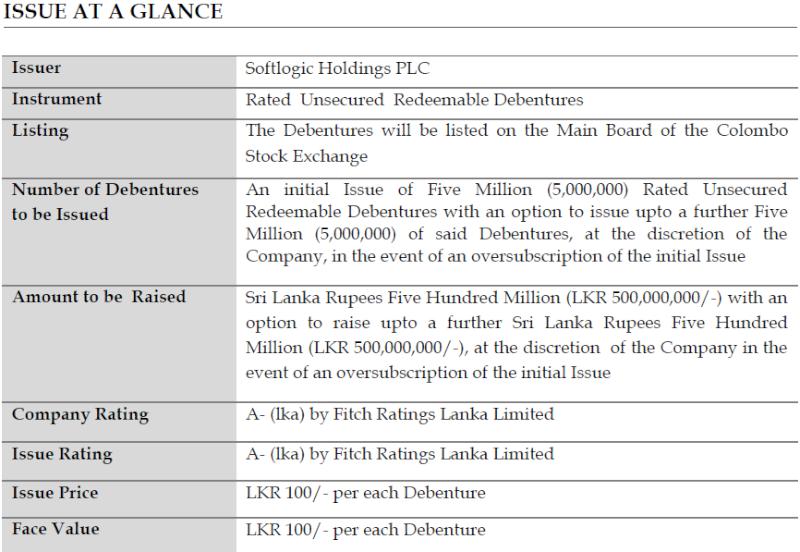 Softlogic Holdings Debenture Issue at a glance Deb111