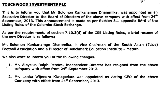 TWOD - Change of Directorate and Appointment of Acting CEO Twod13