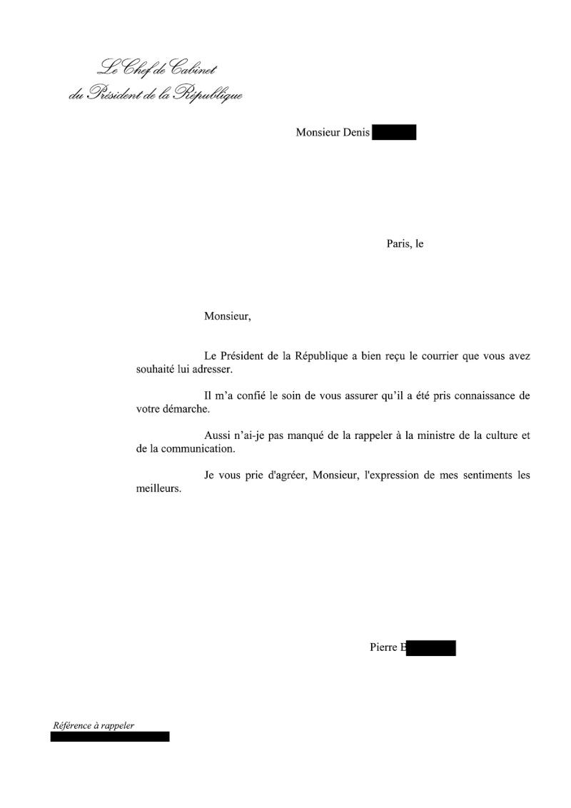 Réponse de la Présidence de la République Dia211