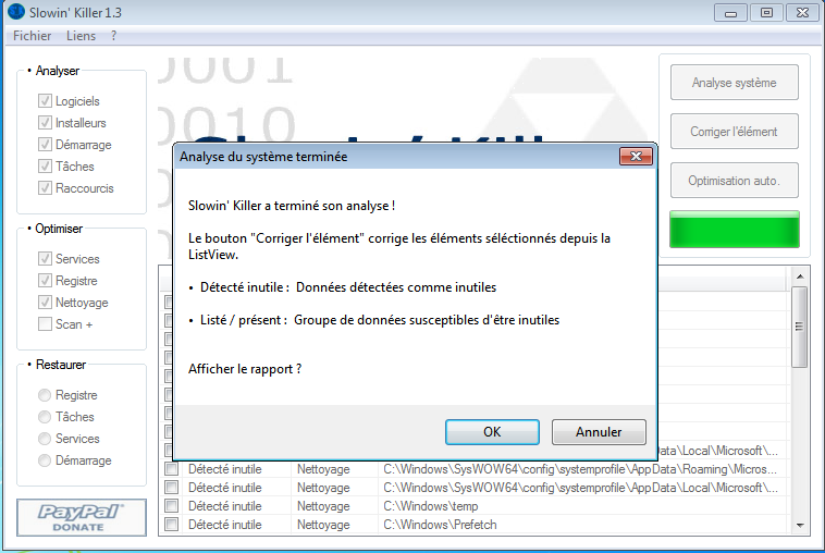 Slowin Killer : Optimisation de Windows Analys10
