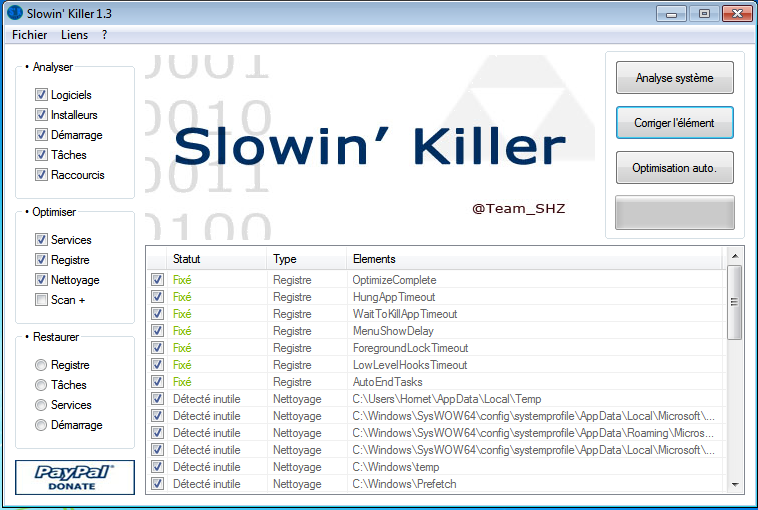 Slowin Killer : Optimisation de Windows Repara10