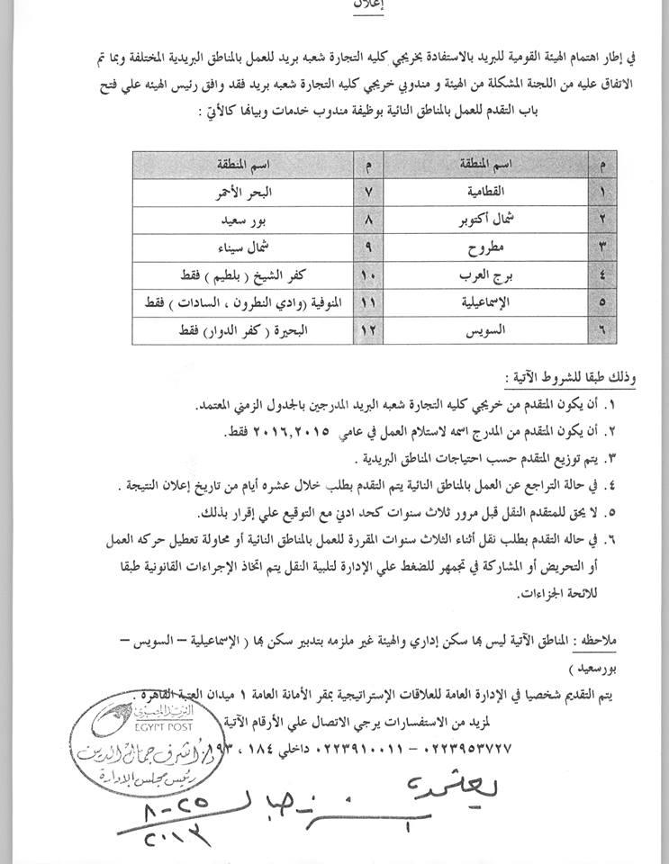 حصري لمنتدى : عشاق البريد المصري ( بشرى سارة لخريجي كلية التجارة شعبة بريد ) 10022010