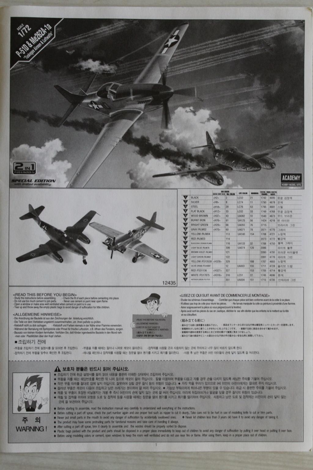 [ACADEMY] MESSERSCHMITT Me 262 + NORTH AMERICAN P-51 D combo 1/72ème Réf 12435 000_ac26