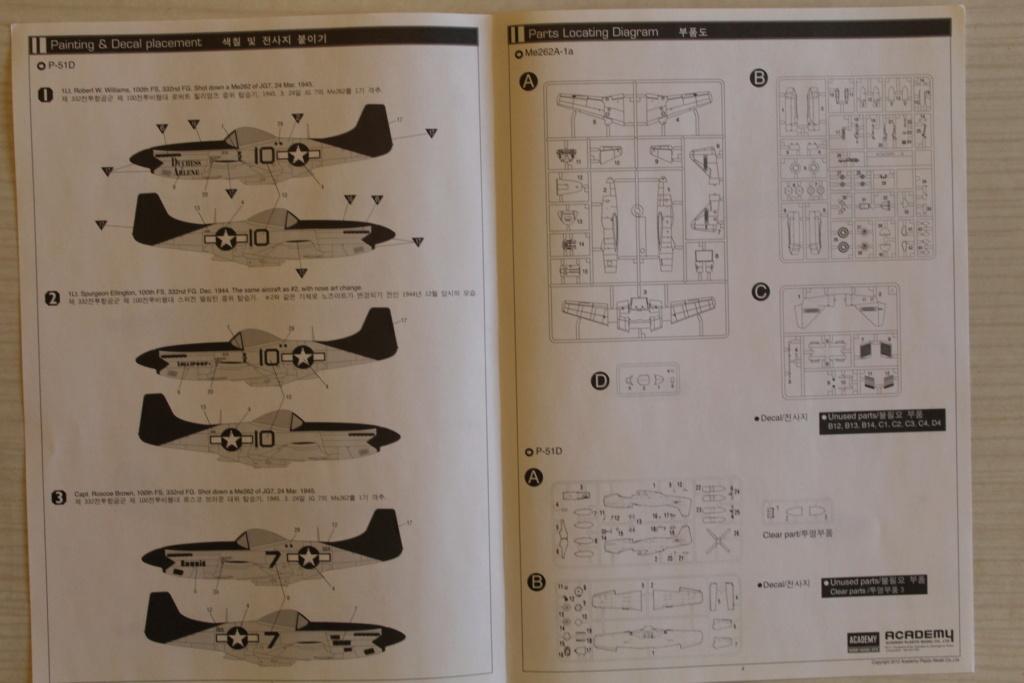 [ACADEMY] MESSERSCHMITT Me 262 + NORTH AMERICAN P-51 D combo 1/72ème Réf 12435 000_ac30