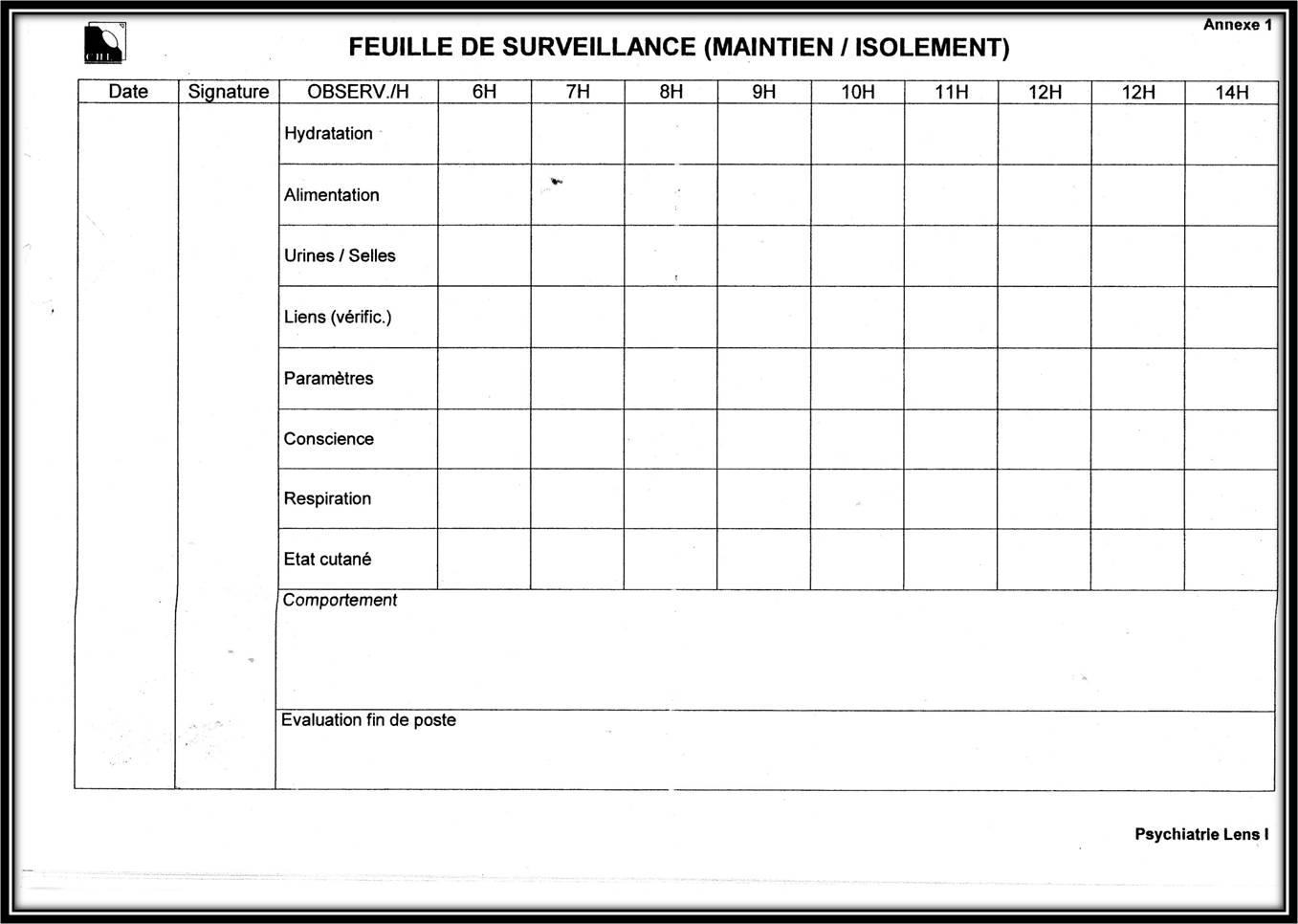 tableau de surveillance contention psychiatrie