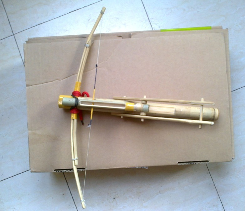 My personal bamboo crossbow in all:  Cho-Ko-Nu, Primitive crossbow, New crossbow trigger 1110