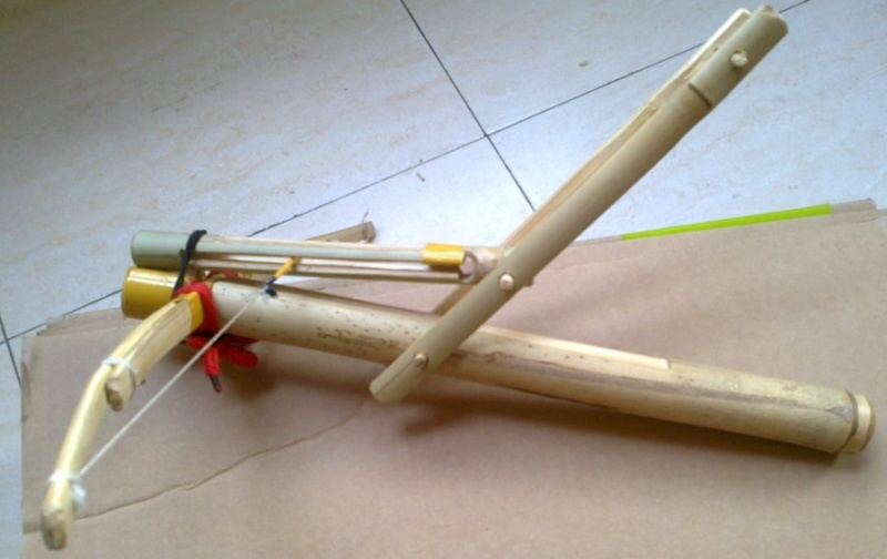 My personal bamboo crossbow in all:  Cho-Ko-Nu, Primitive crossbow, New crossbow trigger 1210
