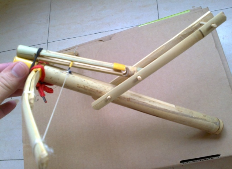 My personal bamboo crossbow in all:  Cho-Ko-Nu, Primitive crossbow, New crossbow trigger 1310