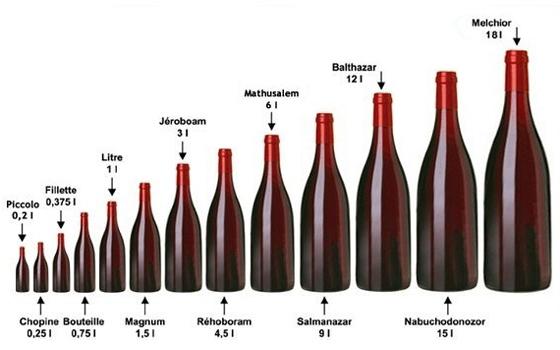 Les différentes tailles de Bouteilles de Vin Taille10