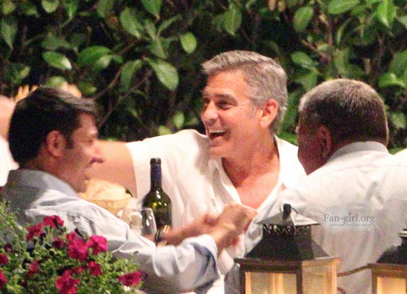 George Clooney at Dinner 8/18/13 in Lake Como Test510