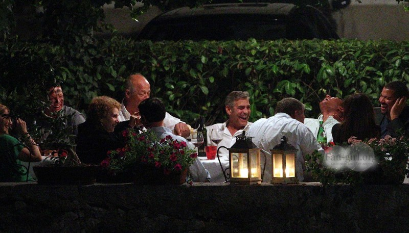 George Clooney at Dinner 8/18/13 in Lake Como Test710