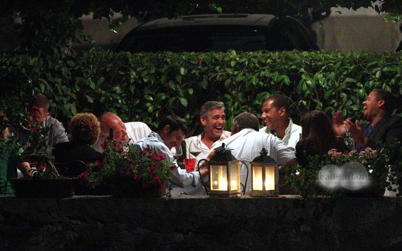 George Clooney at Dinner 8/18/13 in Lake Como Test910
