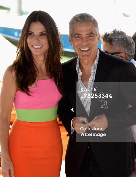 George Clooney and Sandra Bullock at the daytime screening of Gravity at the Venice Film Festival 2013 Venice10