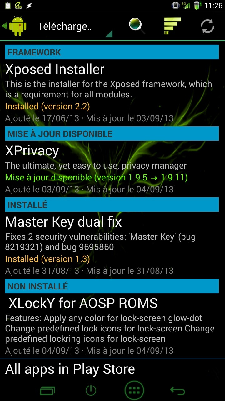 [APPLICATION ANDROID  - INDEX MODULES XPOSED] Centralisation des Modules Xposed Framework 2013_029