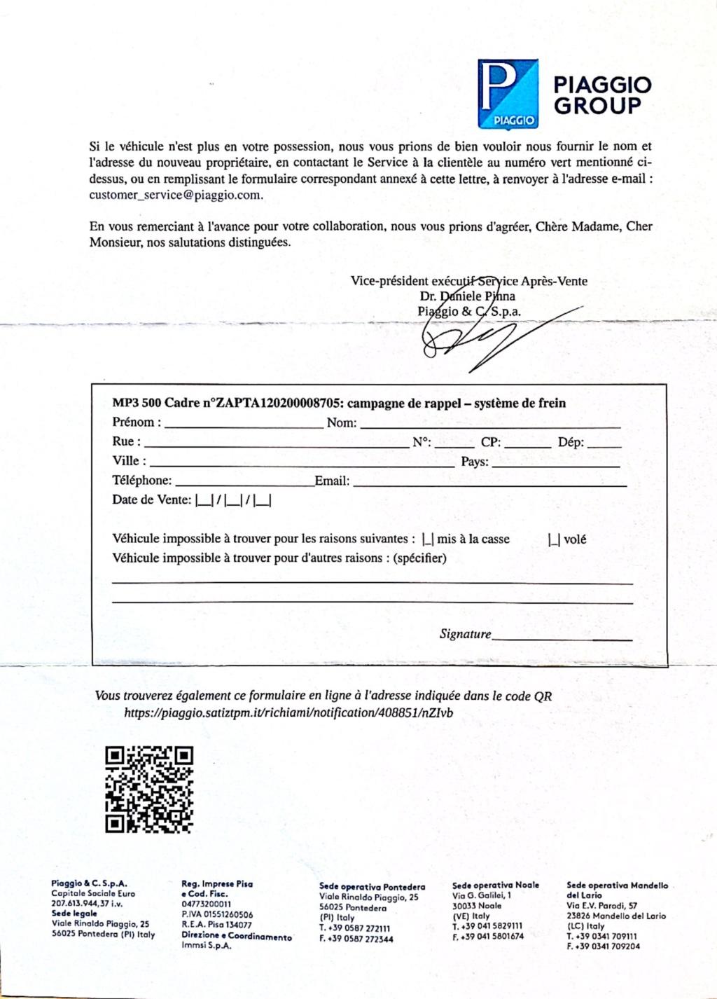 Rappel de Piaggio par courrier recommandé : Freins.   Img_5610