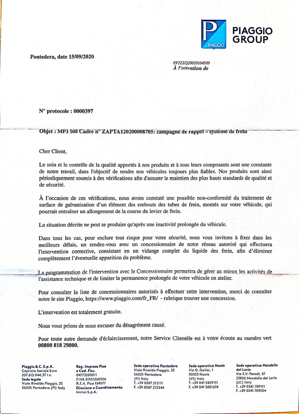 Rappel de Piaggio par courrier recommandé : Freins.   Img_5611