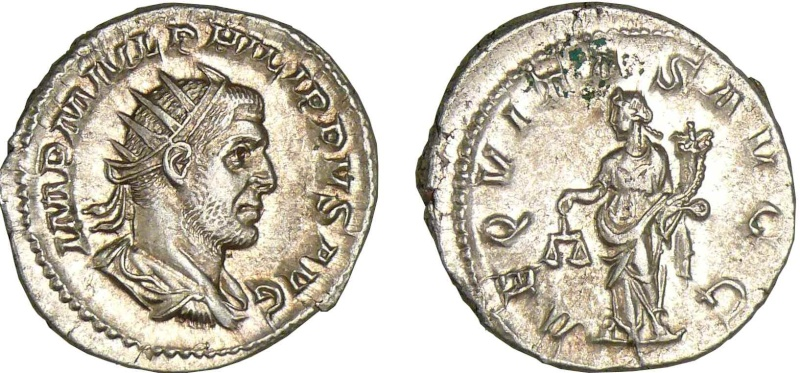 """Antoninien de Philippe l'Arabe """"AEQVITAS AVG G"""" A0316411"""