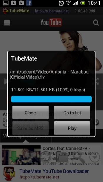 TUBE MATE Application for Android A10