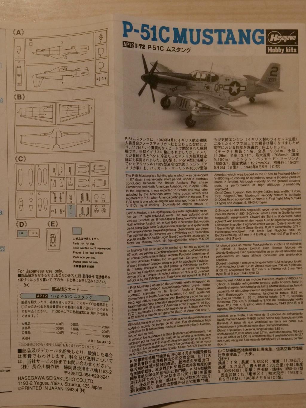 [HASEGAWA] NORTH AMERICAN P-51C MUSTANG yellow tail 1/72ème Réf AP12 000_h107