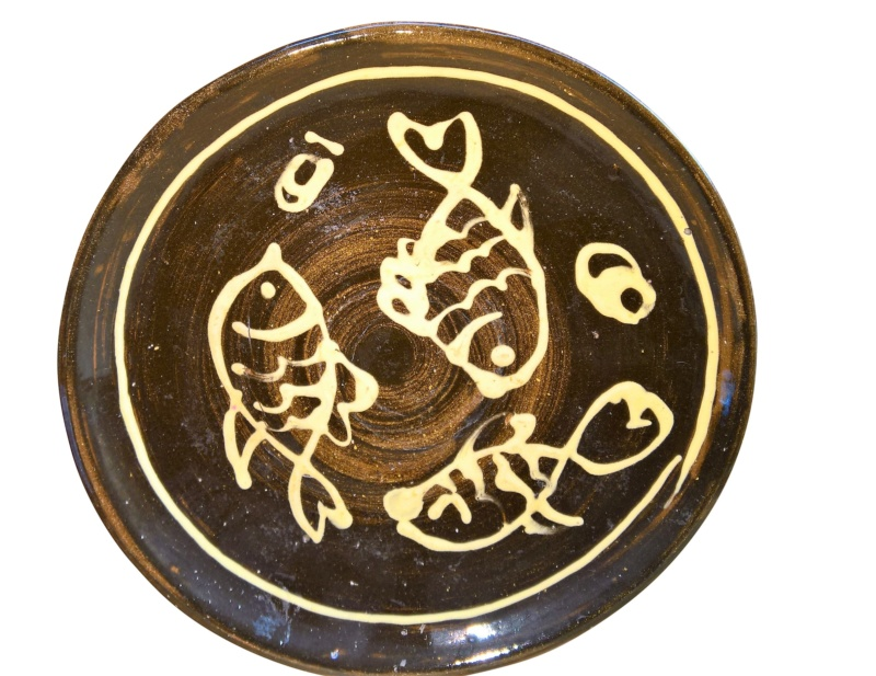 Brown Slipware fish design dish with mark 28cms, looks like PAW incised Wp_20117