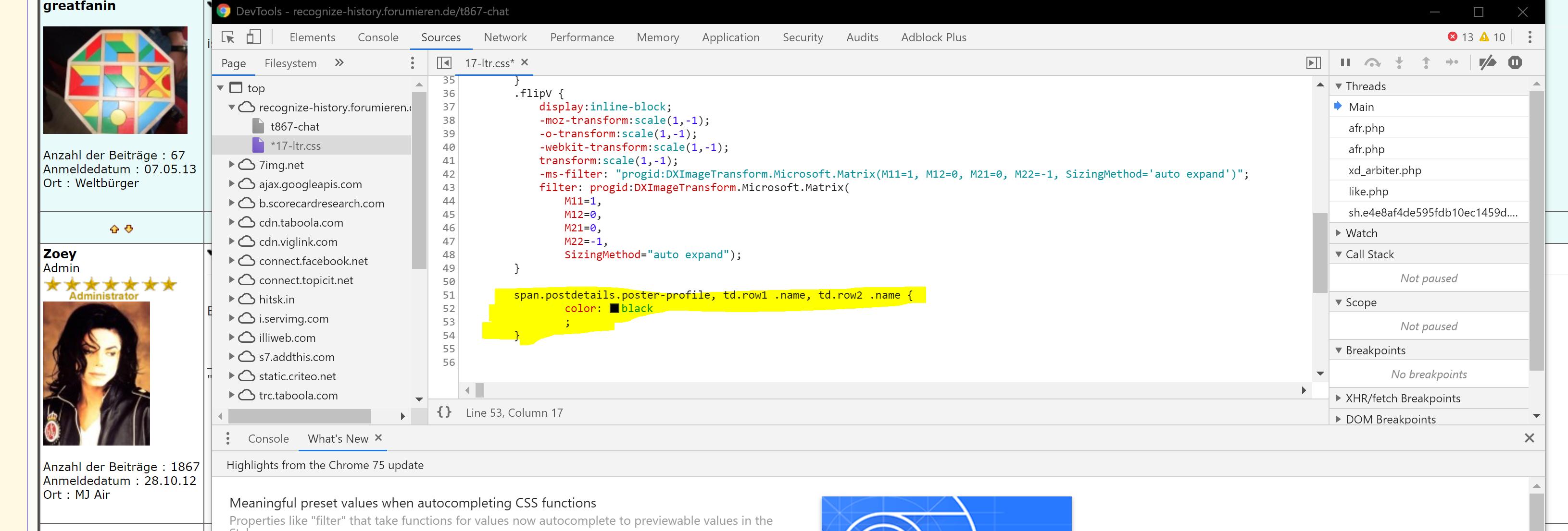 Ungewollte Veränderung des Aussehens des Forums Code10