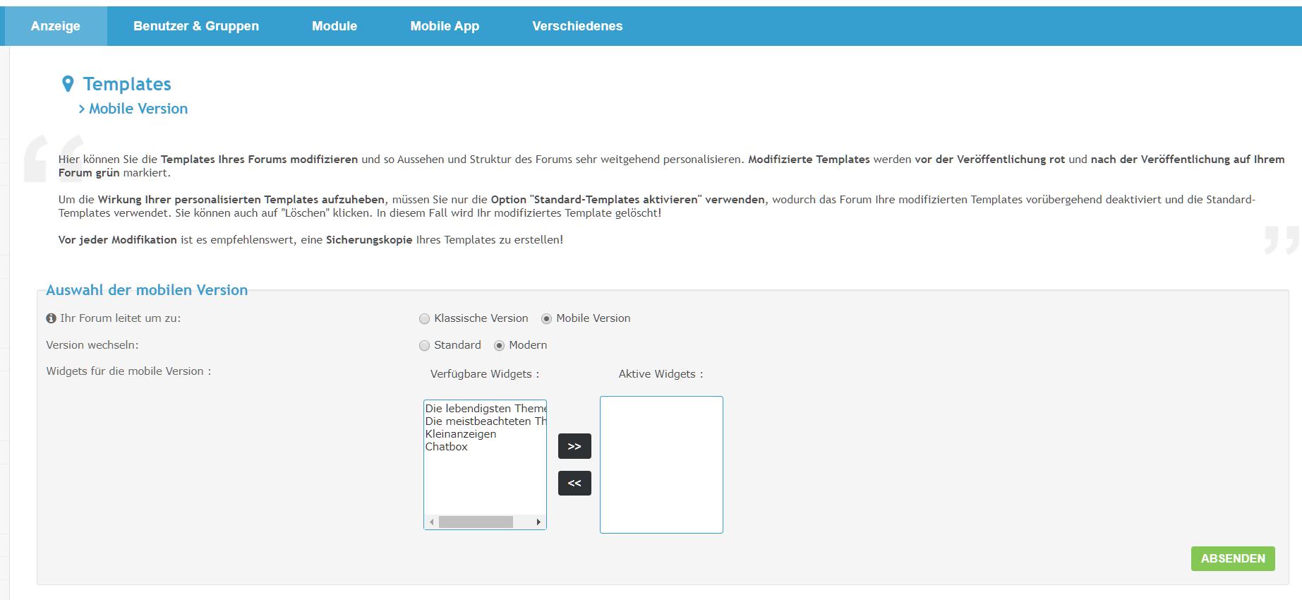 [Neue Funktion] Module sind jetzt für die moderne mobile Version verfügbar Unbena14