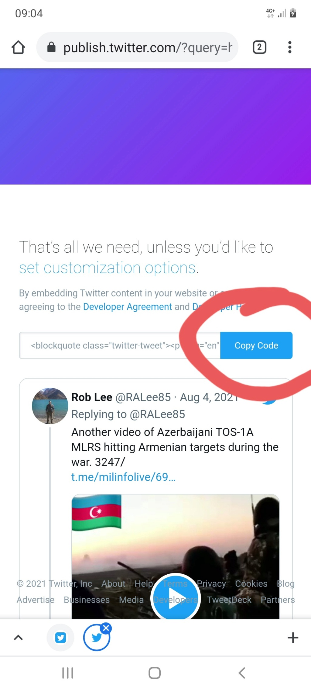 How to embbed a twitter post in your reply Screen16