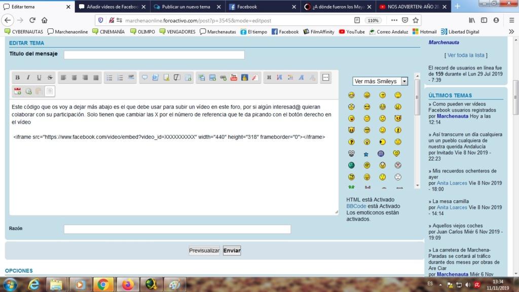 ¿Cómo puedo hacer para que el código de vídeo facebook quede marcado en un tema? Sin_tz10