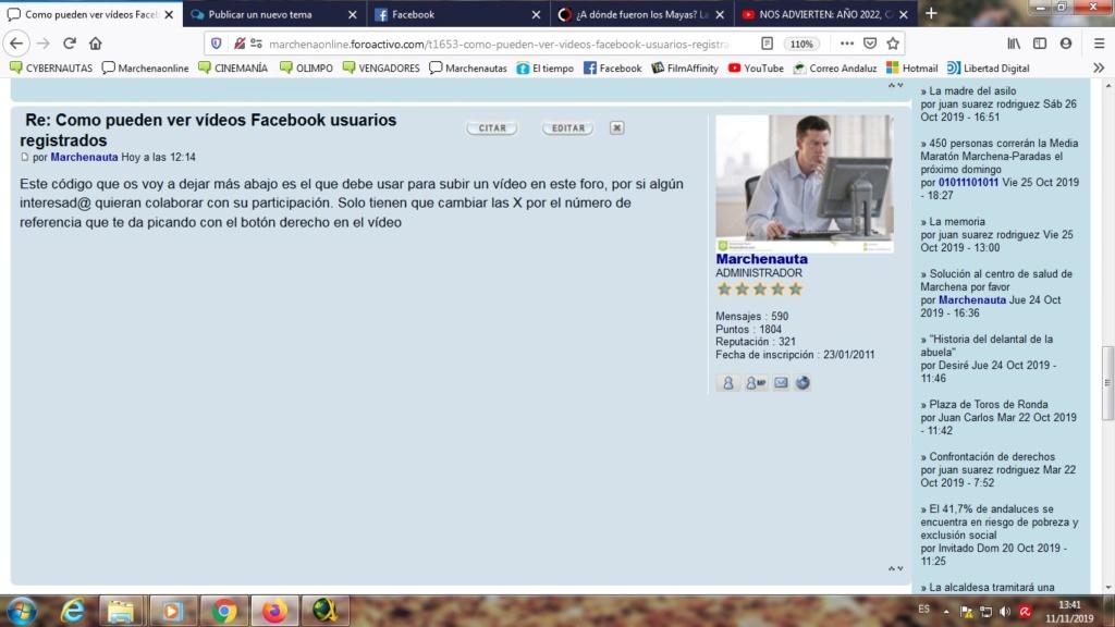 ¿Cómo puedo hacer para que el código de vídeo facebook quede marcado en un tema? Sin_tz11