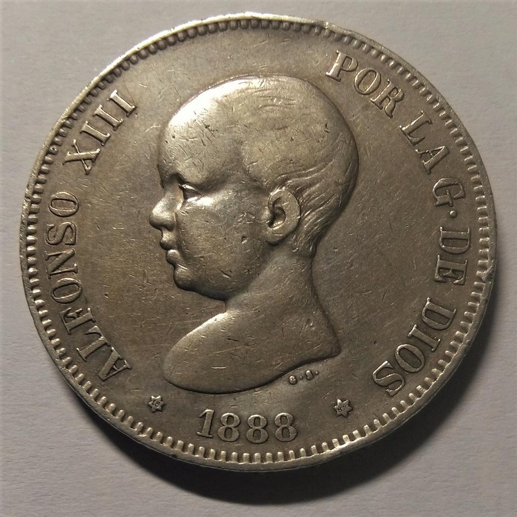 5 Pesetas 1888. Alfonso XIII. MS M Img_2016