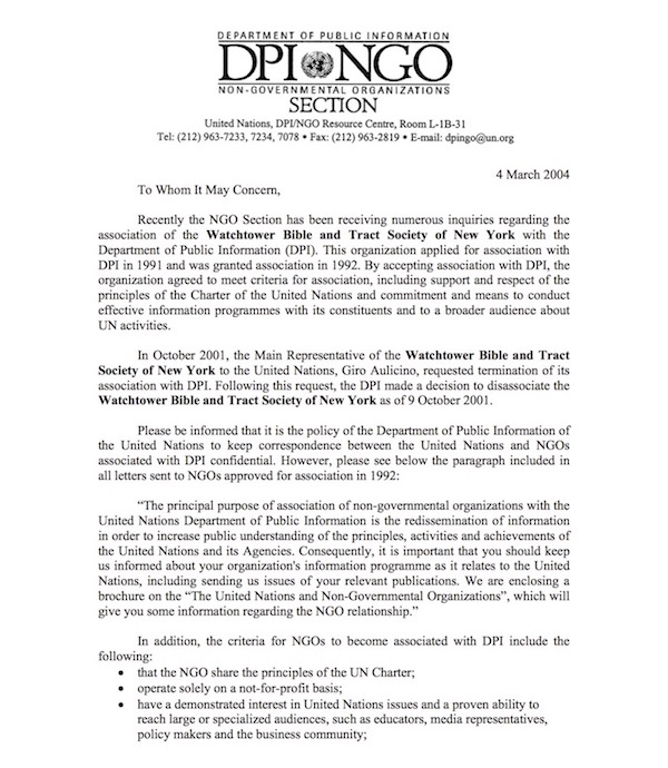 Asociación de las Naciones Unidas ( ONU) y la Watchtower United11