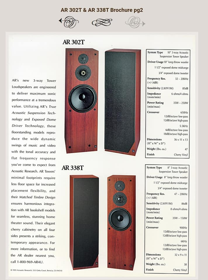 """acoustic research (ar) 302t 3 ways 10"""" floor standing speaker (sold) (used)  11676910"""
