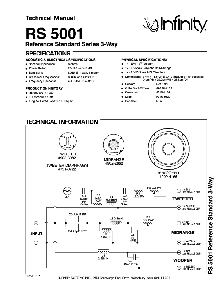 usa infinity rs5001 3 ways floor standing speaker (used)   Infini10