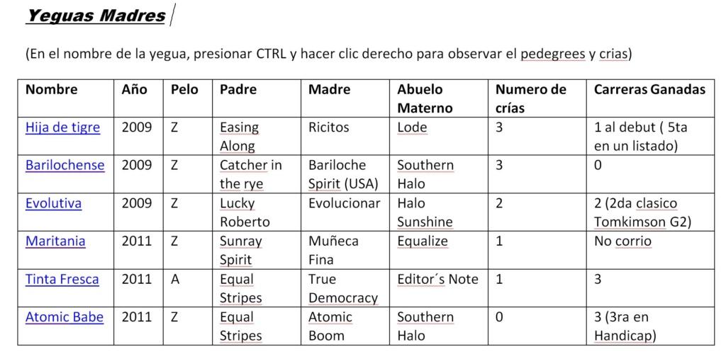 Venta total Stud Pedro Ulises  Madres10