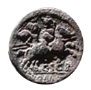 Denario de la gens Scribonia. C. SCR ROMA. Los Dióscuros a caballo a dcha. Roma. 26b10