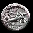 Denario de la gens Julia. L. IVLI. BVRSIO. Victoria guiando cuádriga a galope a dcha. Roma. 2b10