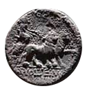 Denario de la gens Volteia. M. VOLTEI. M. F. Cibeles en una biga tirada por leones. Roma. 30b10