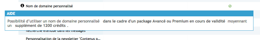 Package prémium et nom de domaine Domain10