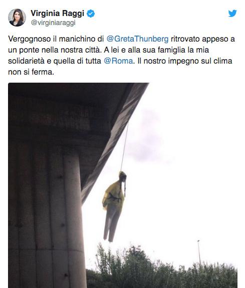Rome : Un mannequin à l'effigie de Greta Thunberg pendu sous un pont Greta_11