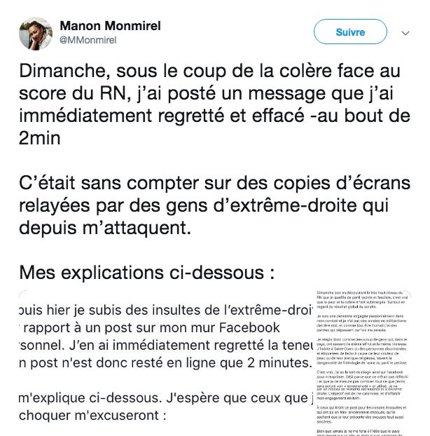 Le message insultant d'une élue de la France insoumise Mm10