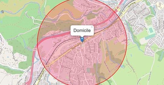 Coronavirus : carte de la zone autorisée lors des sorties Safe_i80