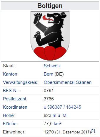 Weissenbach (Boltigen) BE - xxx Einwohner A34