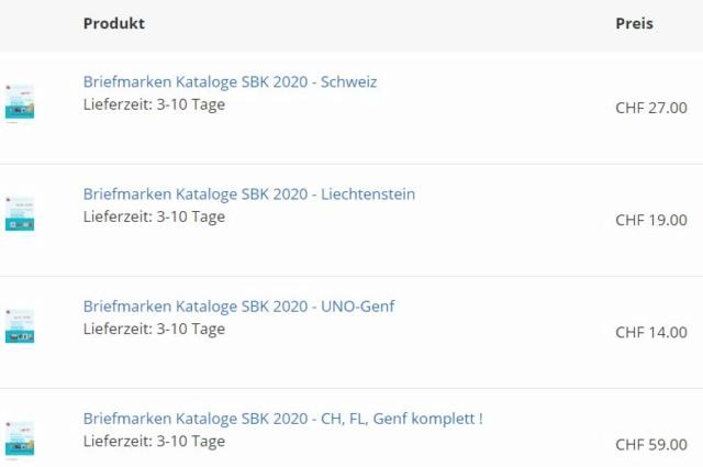 zum Thema Briefmarken: Schweiz, strukturiert nach SBK/Zumstein A50