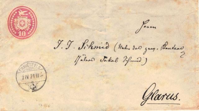 Tübli-Briefe 10 Rappen, Frankatur links oben Tzbli_10