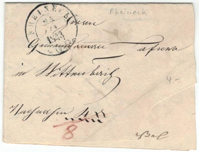 Rheineck nach Wittenbach SG am 24. Jan. 1843 Vorphi10