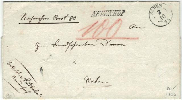 Nachnahm 80 Cent von Neuenhof nach Baden, 1855 Vorphi15