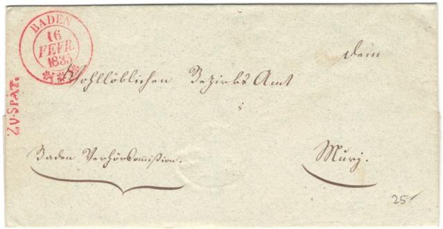 Vermerk: ZU SPÄT auf Brief von Baden nach Muri am 16.2.1835 Vorphi18