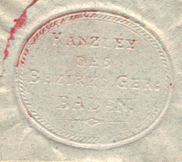 Vermerk: ZU SPÄT auf Brief von Baden nach Muri am 16.2.1835 Vorphi19