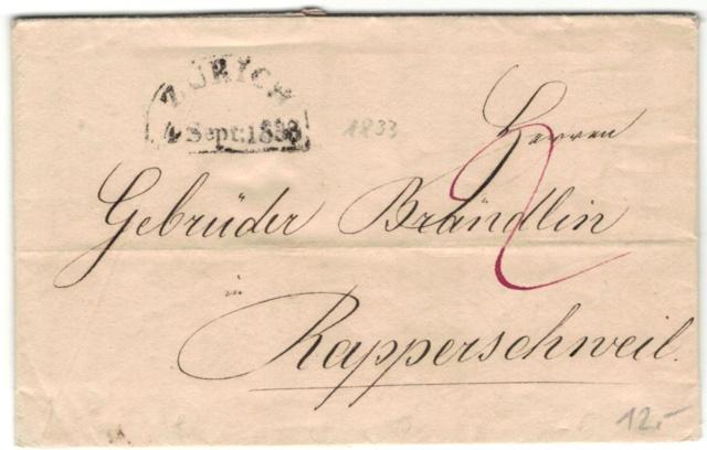 Brief mit Halbkreisstempel Zürich , 4. Sept. 1833 Vorphi20